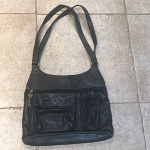 Leather black shoulder purse